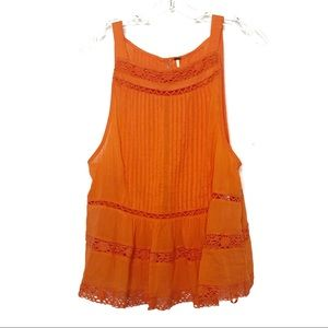 Free People Tops - Free People orange crochet eyelet tank -463